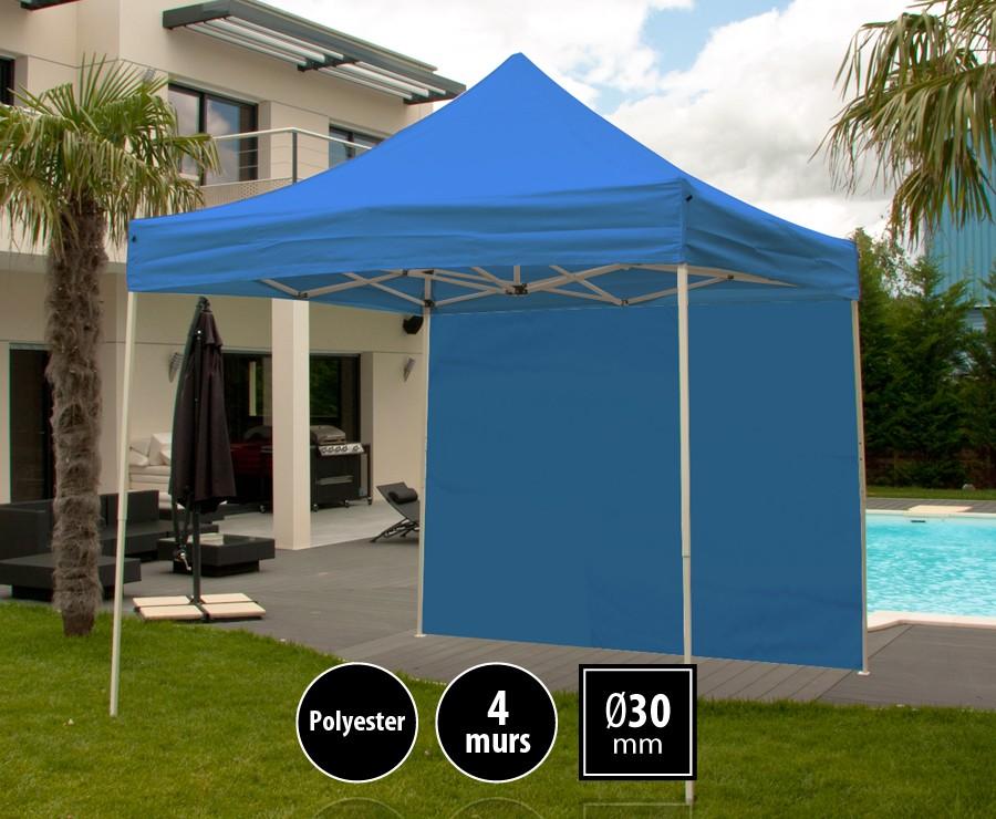 Tonnelle pliante acier 3m x 3m bleu LOISIRS + 4 murs, toit polyester 260gr/m²