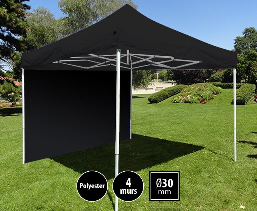 Tonnelle pliante acier 3m x 3m noir LOISIRS + 4 murs, toit polyester 260gr/m²