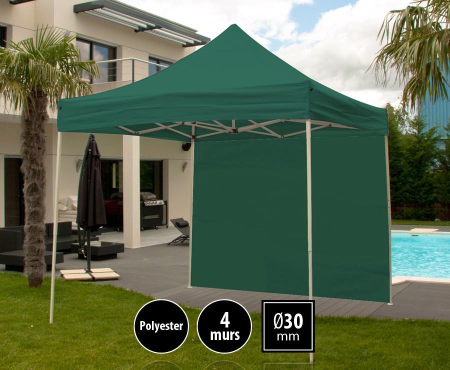 Tonnelle pliante acier 3m x 3m vert LOISIRS + 4 murs, toit polyester 260gr/m²