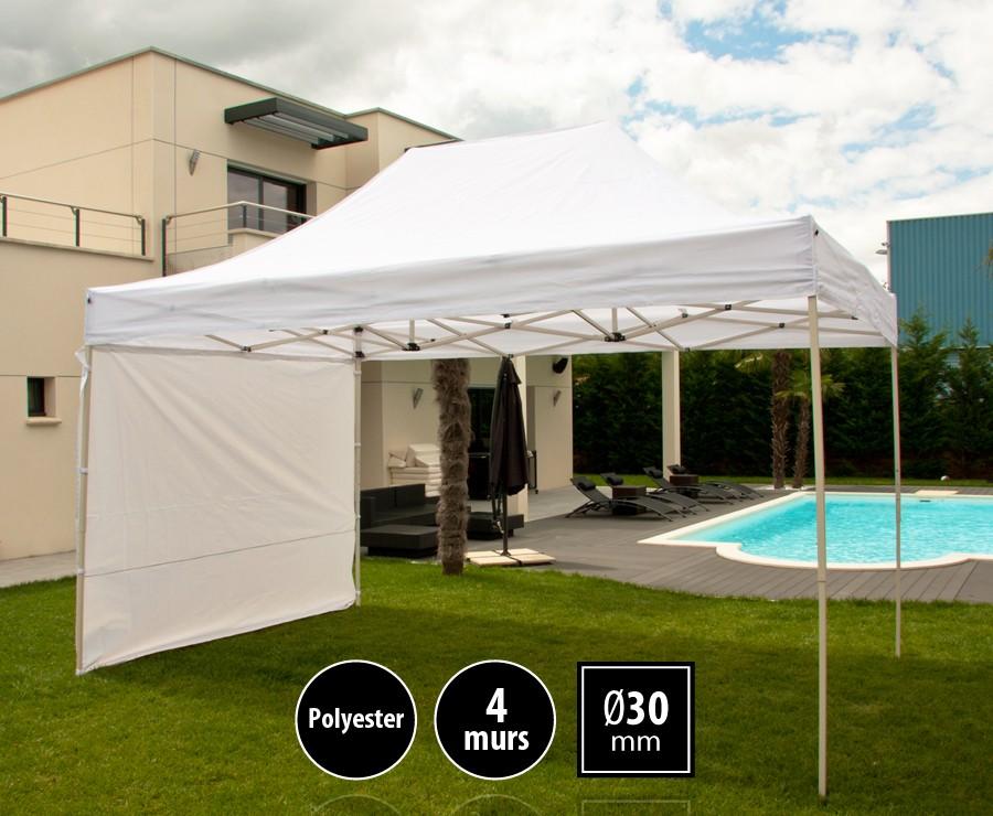 Tente pliante acier 3x4,5m blanc LOISIRS + 4 murs, toit polyester 260gr/m²