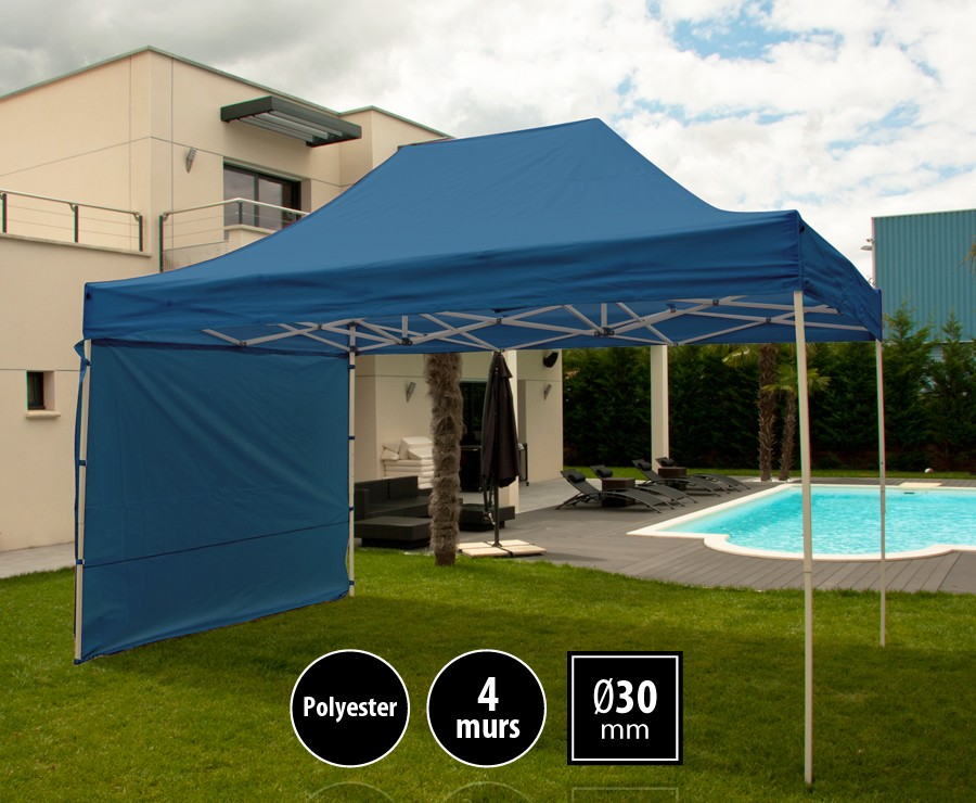 Tente pliante acier 3x4,5m bleu LOISIRS + 4 murs, toit polyester 260gr/m²
