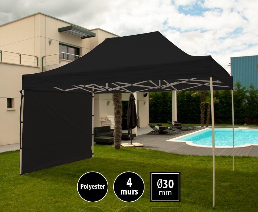 Tente pliante acier 3x4,5m noir LOISIRS + 4 murs, toit polyester 260gr/m²