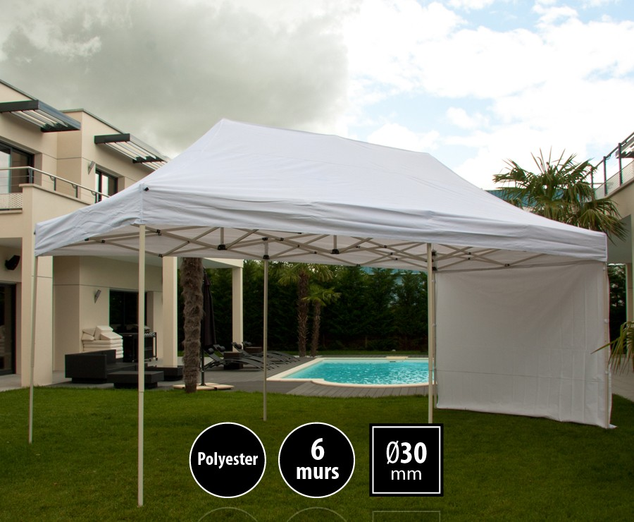 Tente pliante acier 3x6m blanc LOISIRS + 6 murs, toit polyester 260gr/m²