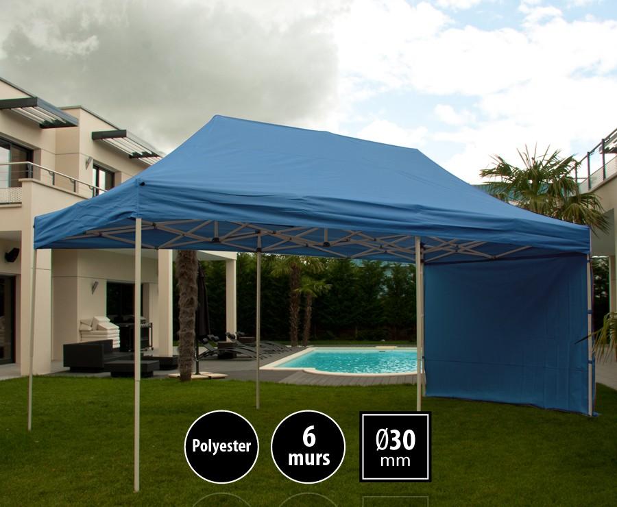 Tente pliante acier 3x6m bleu LOISIRS + 6 murs, toit polyester 260gr/m²