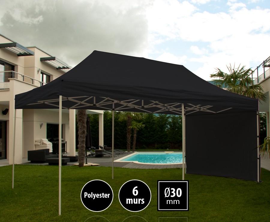 Tente pliante acier 3x6m noir LOISIRS + 6 murs, toit polyester 260gr/m²