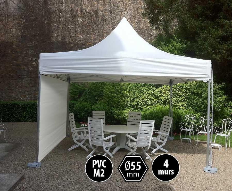 Tente pliante PRO+ 55 aluminium 4x4 blanc, toit PVC norme M2 + 4 murs d'entourage