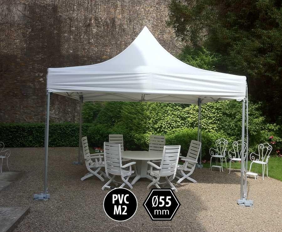 Tente pliante PRO+ 55 aluminium 4x4 blanc, toit PVC norme M2