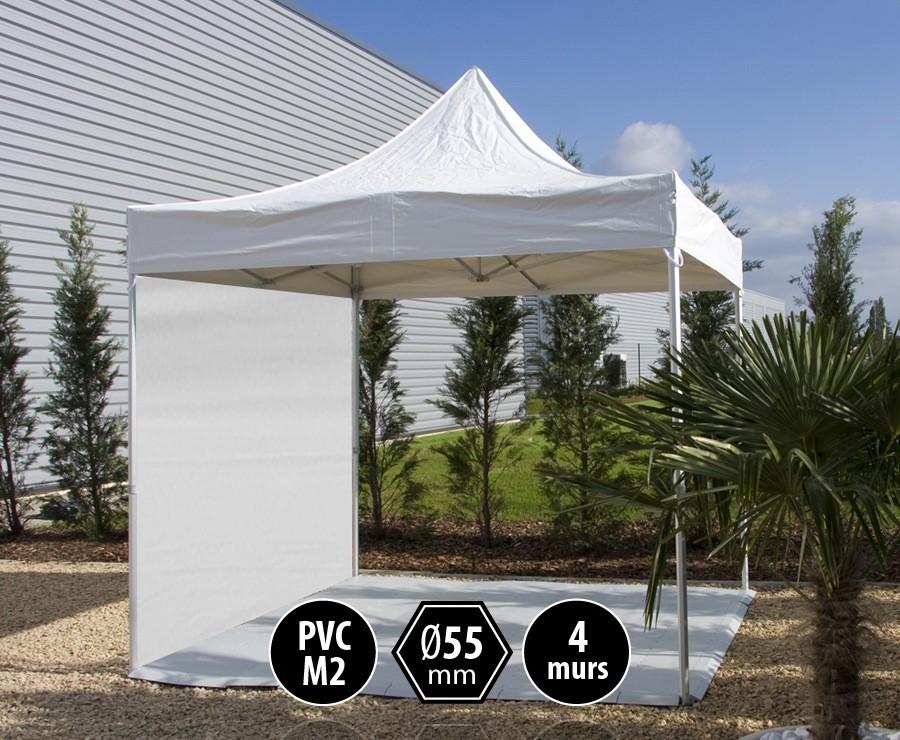 Tente pliante PRO+ 55 aluminium 3x3m blanc, toit PVC norme M2 + 4 murs d'entourage