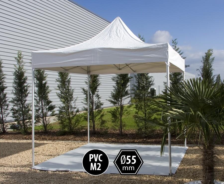 Tente pliante PRO+ 55 aluminium 3x3m blanc, toit PVC norme M2