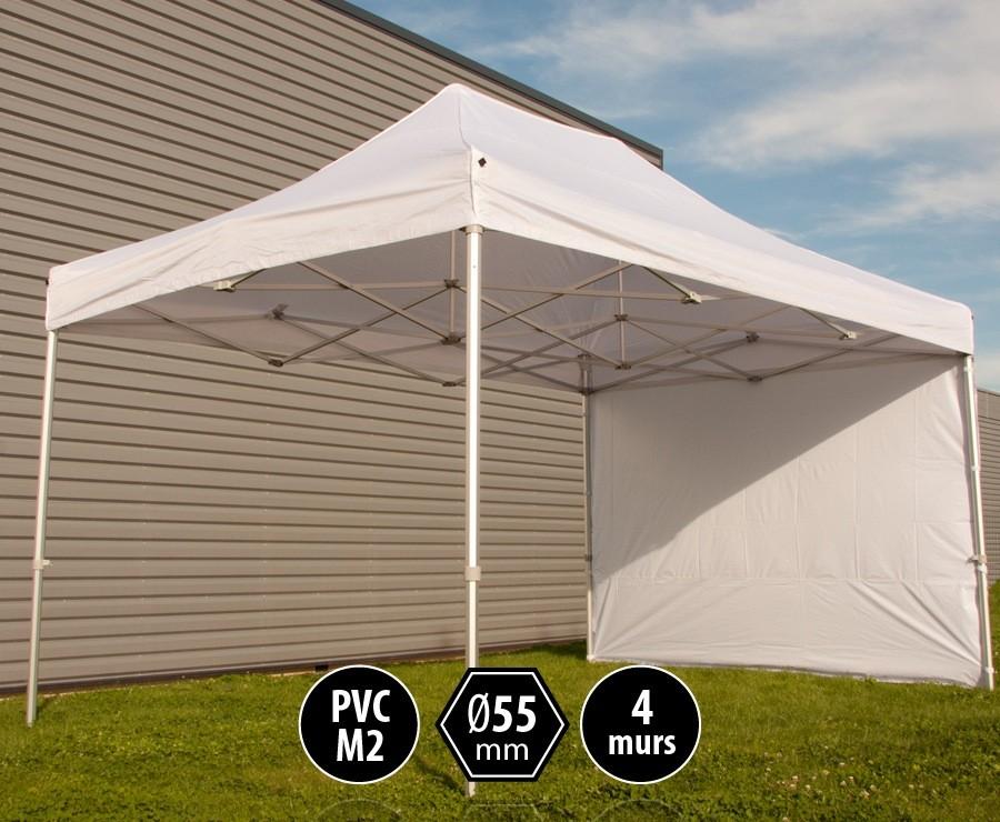 Tente pliante PRO+ 55 aluminium 3x4,5m blanc, toit PVC norme M2 + 4 murs d'entourage
