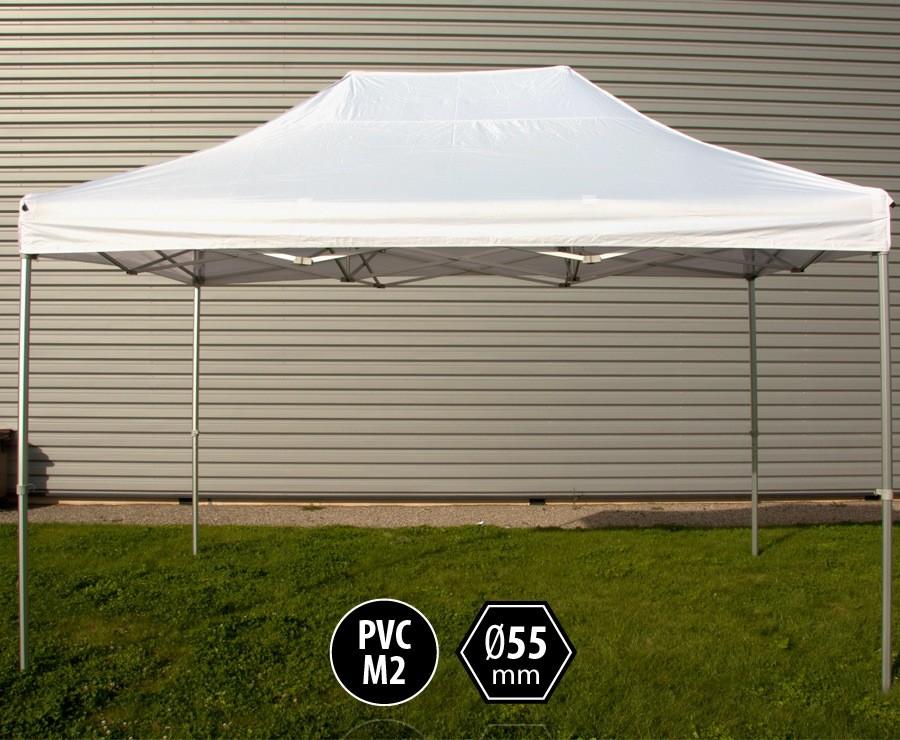 Tente pliante PRO+ 55 aluminium 3x4,5m blanc, toit PVC norme M2