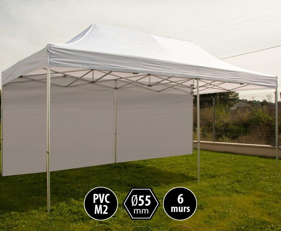 Tente pliante PRO+ 55 aluminium 3x6m blanc, toit PVC norme M2 + 6 murs d'entourage