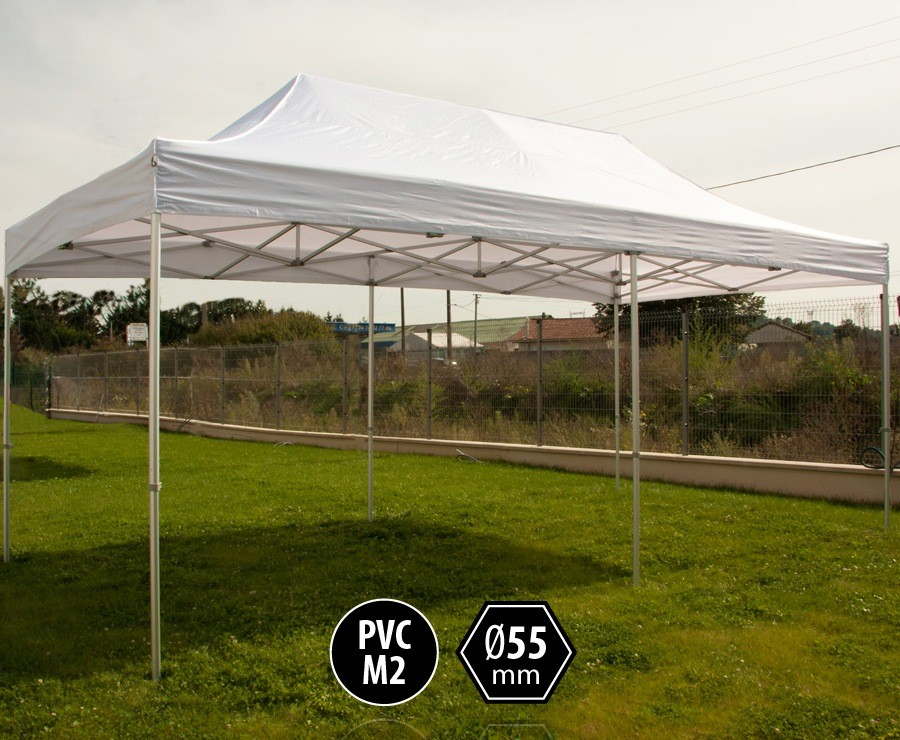 Tente pliante PRO+ 55 aluminium 3x6m blanc, toit PVC norme M2