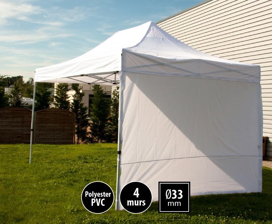 Tente pliante 3x4,5m blanc SEMI-PRO + sac de transport + 4 murs