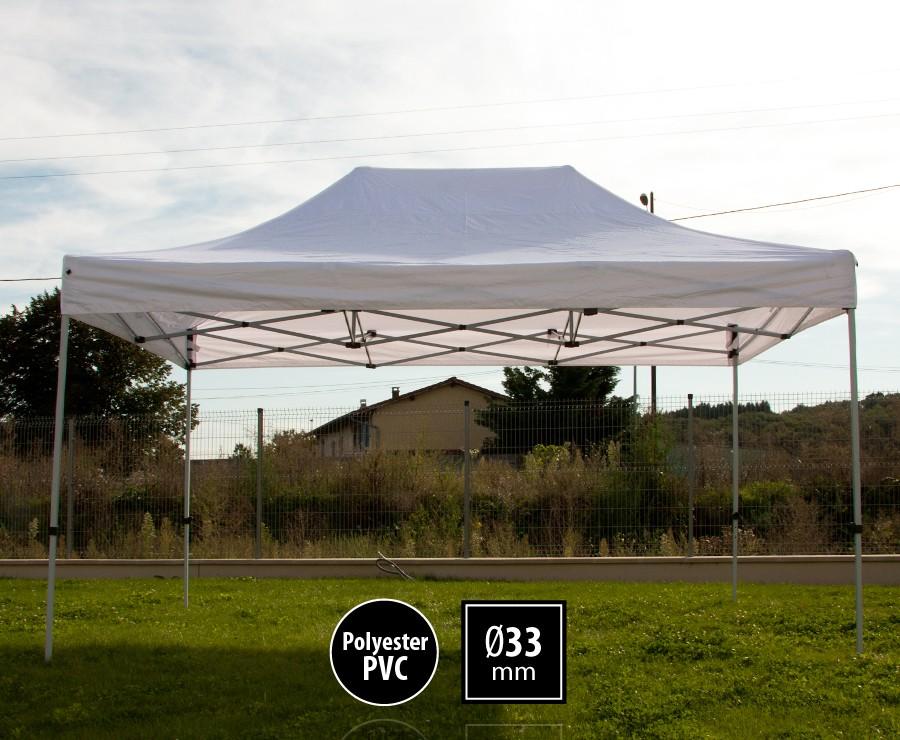 Tonnelle pliante acier 3x4,5m blanc gamme SEMI-PRO, toit 300gr/m2