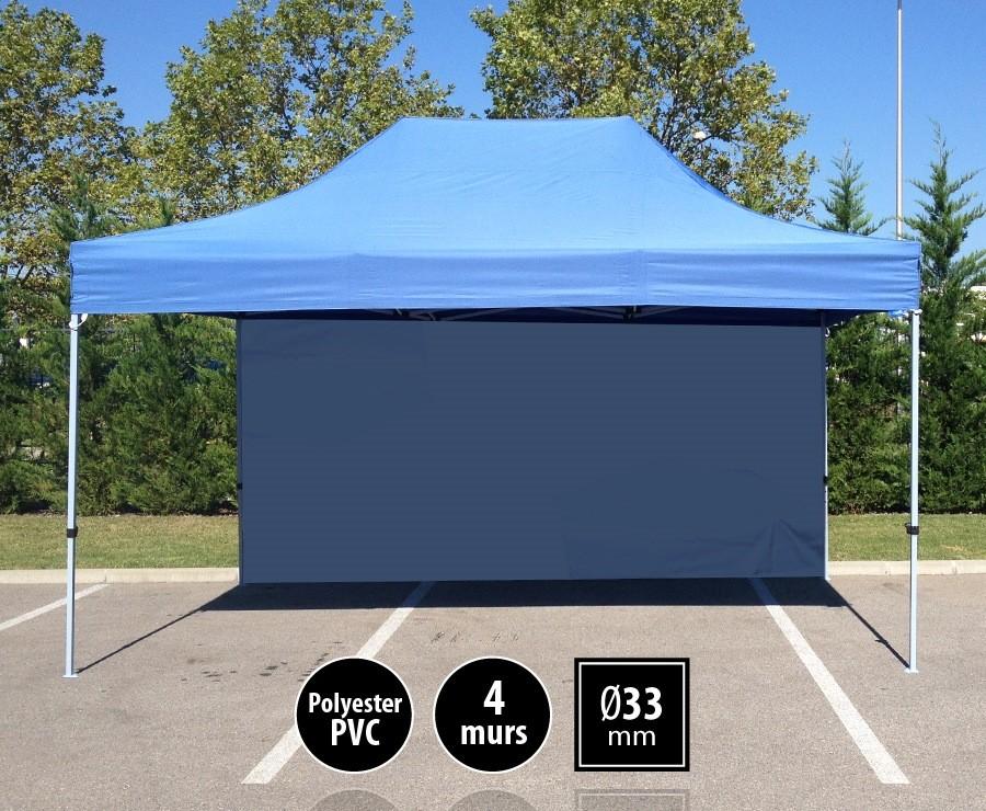 Tente pliante 3x4,5m bleu SEMI-PRO + sac de transport + 4 murs