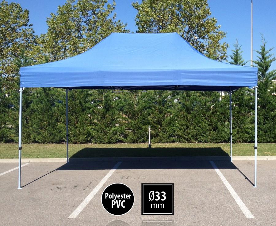 Tonnelle pliante acier 3x4,5m bleu gamme SEMI-PRO, toit 300gr/m2