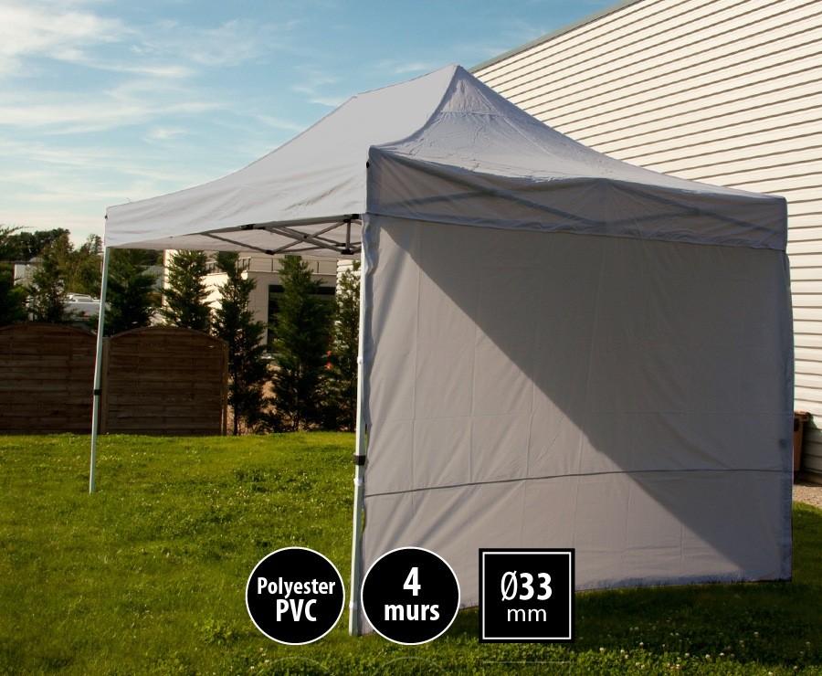 Tente pliante 3x4,5m gris SEMI-PRO + sac de transport + 4 murs