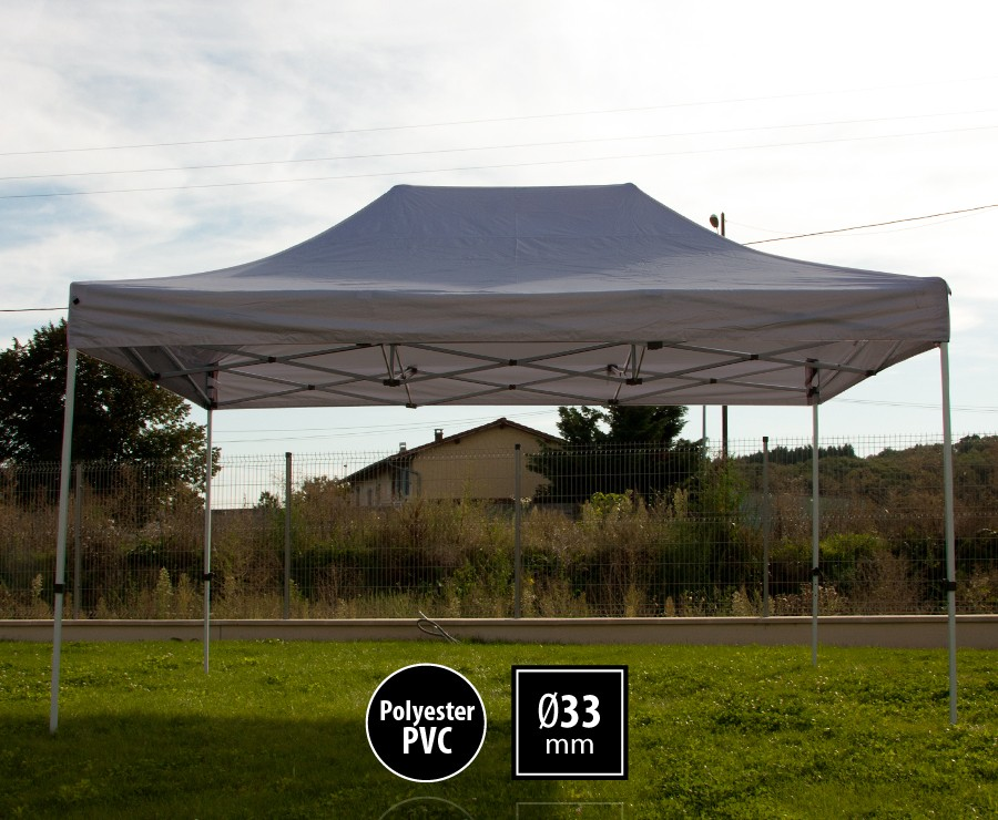 Tonnelle pliante acier 3x4,5m gris gamme SEMI-PRO, toit 300gr/m2