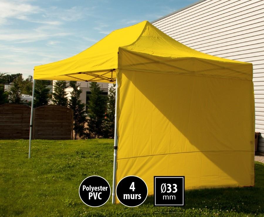 Tente pliante 3x4,5m jaune SEMI-PRO + sac de transport + 4 murs