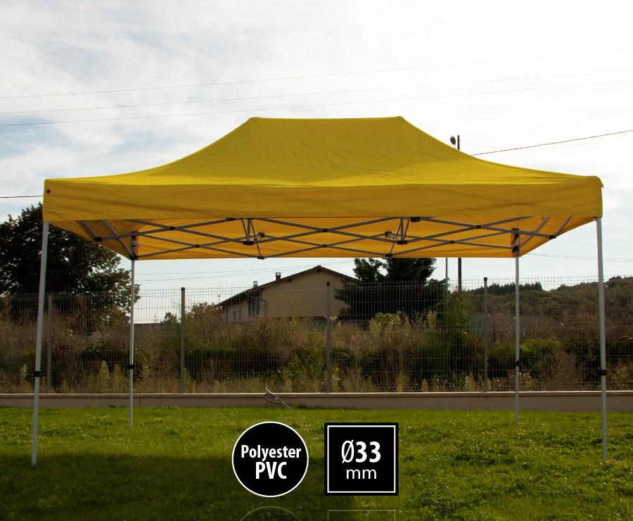 Tonnelle pliante acier 3x4,5m jaune gamme SEMI-PRO, toit 300gr/m2