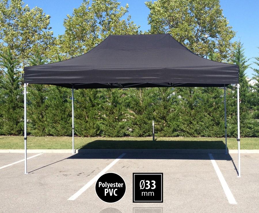 Tonnelle pliante acier 3x4,5m noir gamme SEMI-PRO, toit 300gr/m2
