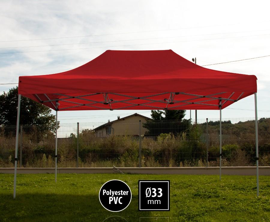 Tonnelle pliante acier 3x4,5m rouge gamme SEMI-PRO, toit 300gr/m2