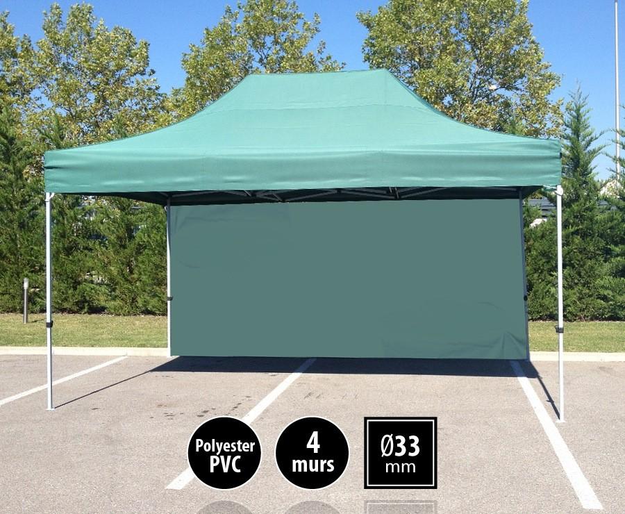 Tente pliante 3x4,5m vert SEMI-PRO + sac de transport + 4 murs
