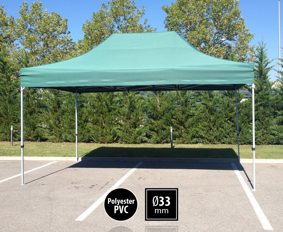 Tonnelle pliante acier 3x4,5m vert gamme SEMI-PRO, toit 300gr/m2