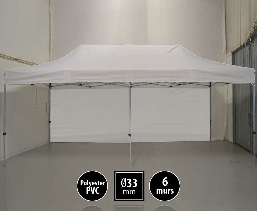 Tente pliante SEMI-PRO 3mx6m Blanche + sac de transport + 6 murs