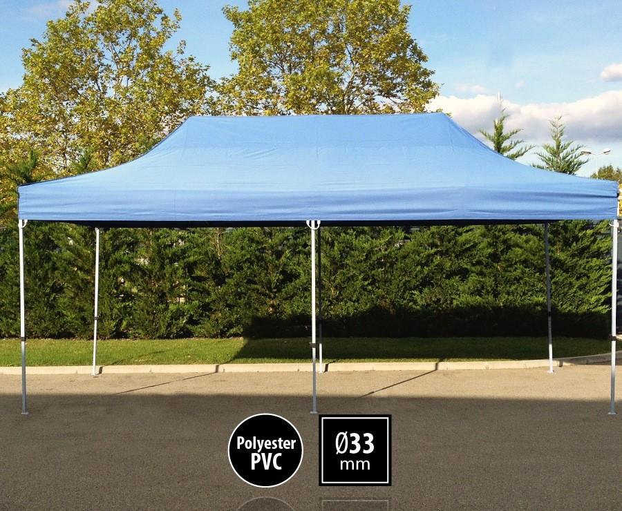 Tente pliante 3m x 6m semi-professionnelle bleu - SEMI-PRO sans murs