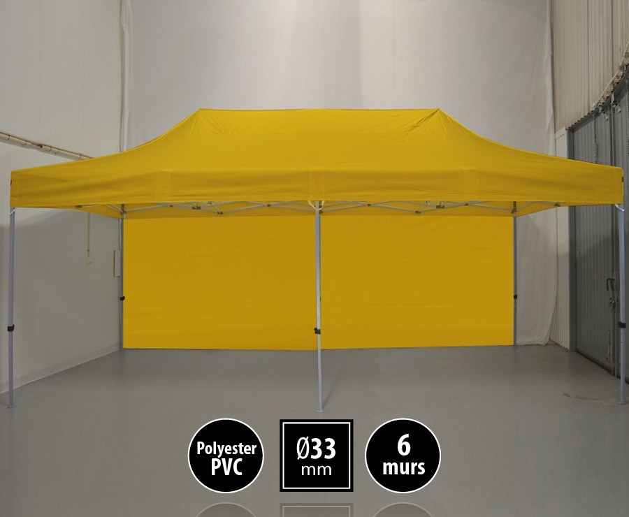 Tente pliante SEMI-PRO 3mx6m jaune + sac de transport + 6 murs