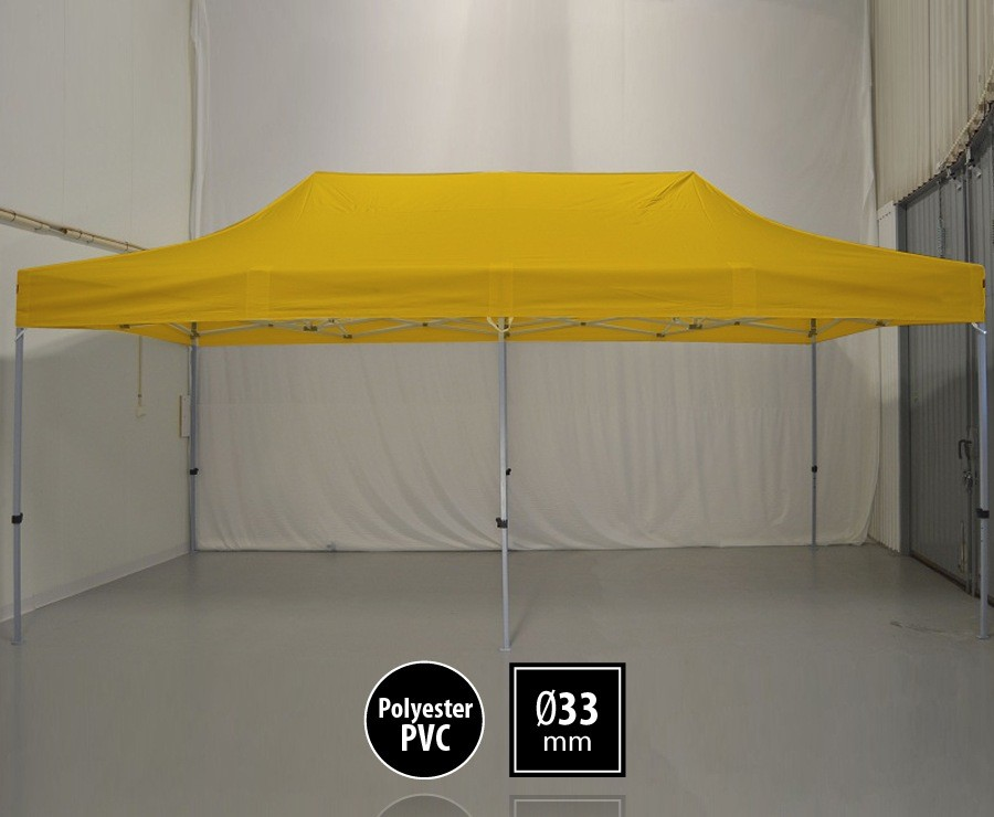 Tente pliante 3m x 6m semi-professionnelle jaune - SEMI-PRO sans murs