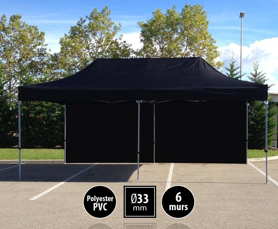 Tente pliante SEMI-PRO 3mx6m Noire + sac de transport + 6 murs