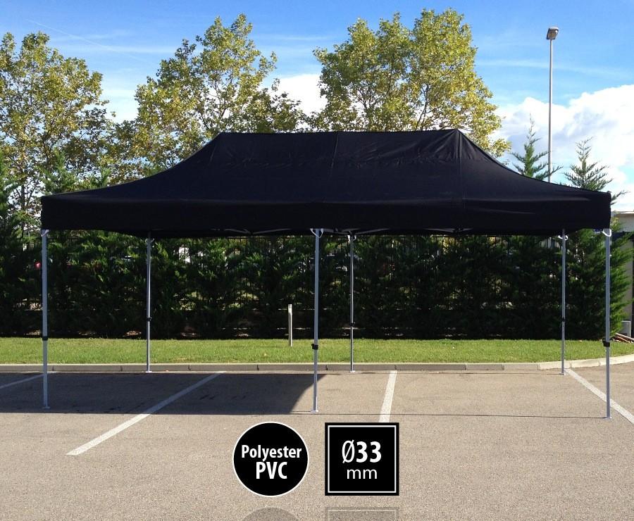 Tente pliante 3m x 6m semi-professionnelle noir - SEMI-PRO sans murs