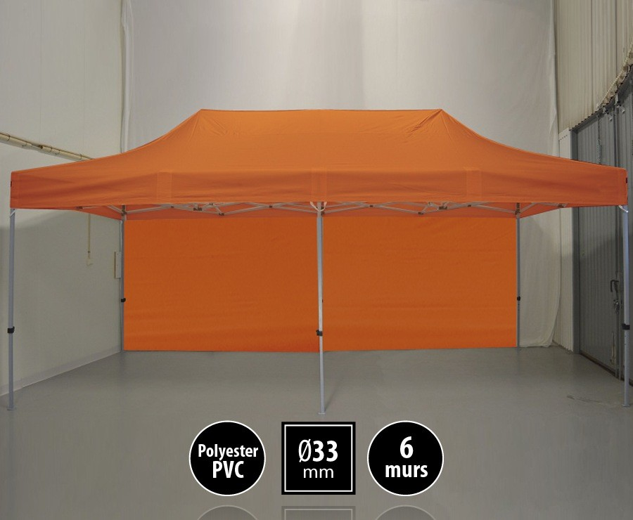 Tente pliante SEMI-PRO 3mx6m orange + sac de transport + 6 murs