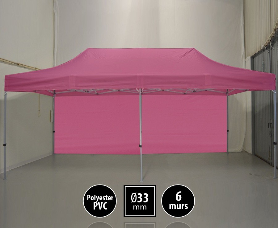 Tente pliante SEMI-PRO 3mx6m rose + sac de transport + 6 murs