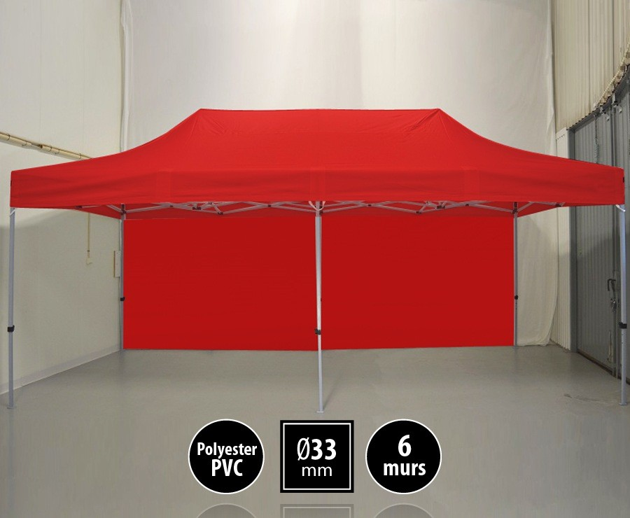 Tente pliante SEMI-PRO 3mx6m rouge + sac de transport + 6 murs