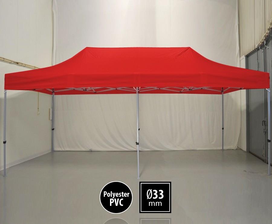 Tente pliante 3m x 6m semi-professionnelle rouge - SEMI-PRO sans murs