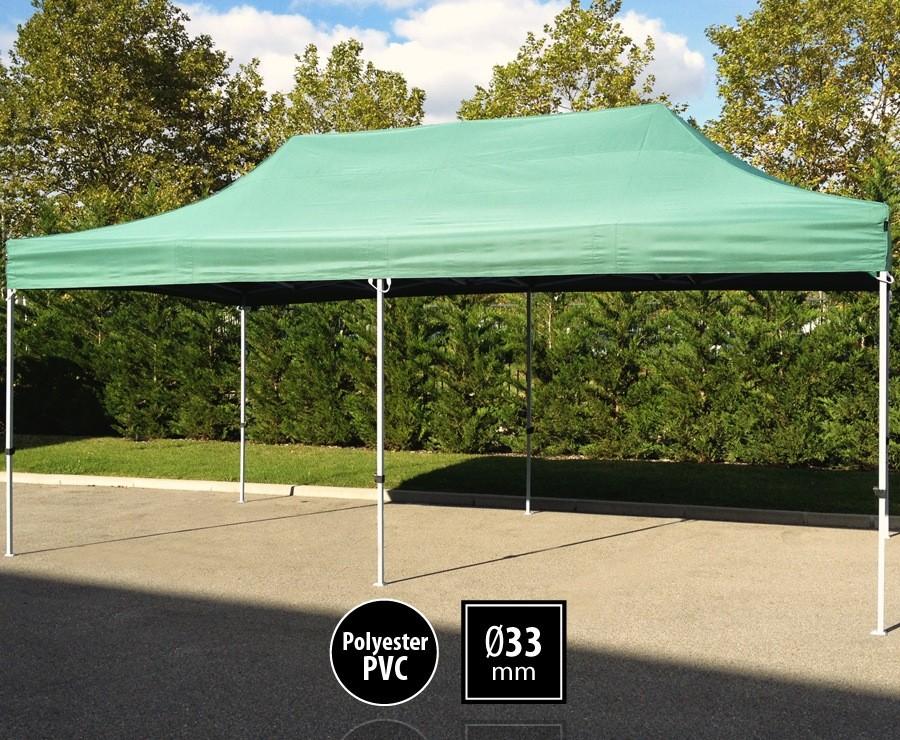 Tente pliante 3m x 6m semi-professionnelle vert - SEMI-PRO sans murs
