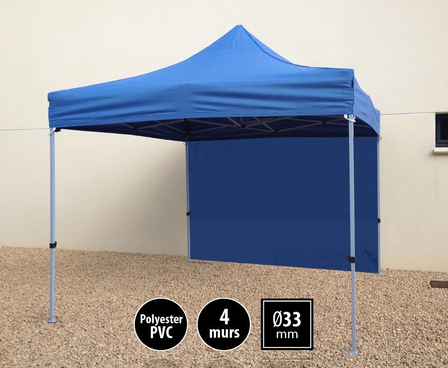 Tente pliante acier SEMI-PRO 3mx3m bleu + sac de transport + 4 murs