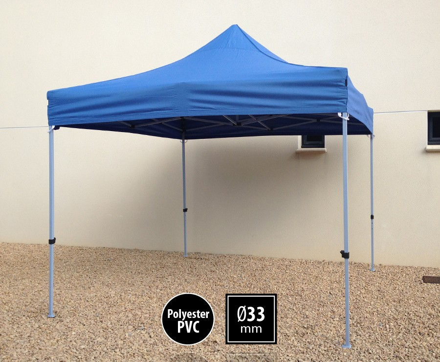 Tente pliante acier 3x3m bleu gamme SEMI-PRO, toit polyester pelliculé PVC 300gr/m2