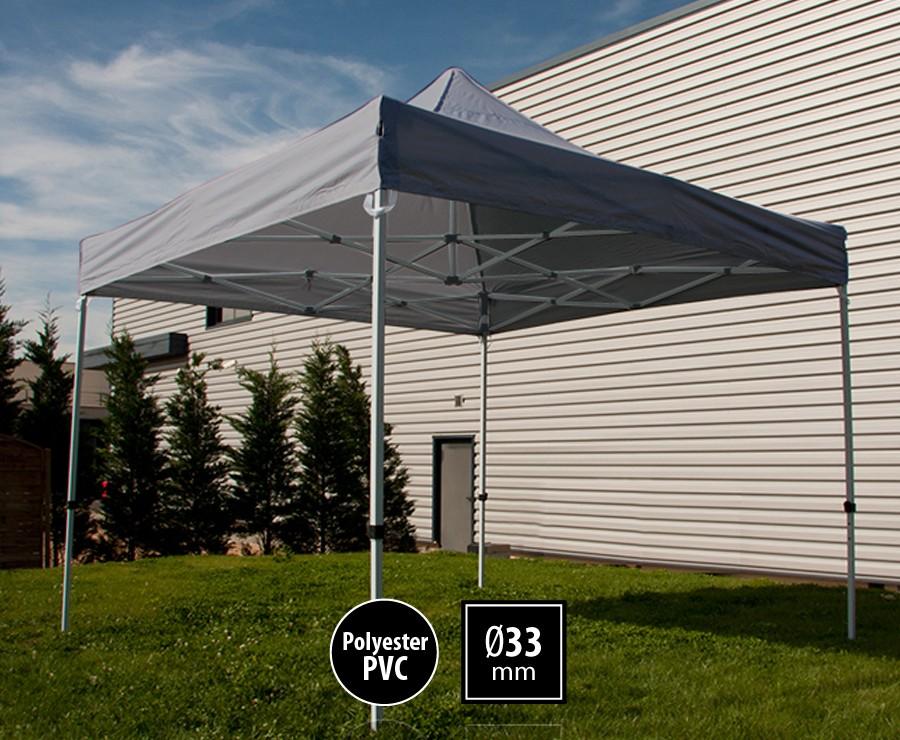 Tente pliante acier 3x3m gris gamme SEMI-PRO, toit polyester pelliculé PVC 300gr/m2