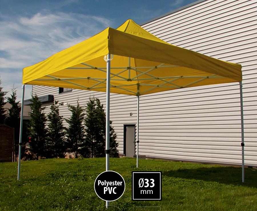 Tente pliante acier 3x3m jaune gamme SEMI-PRO, toit polyester pelliculé PVC 300gr/m2