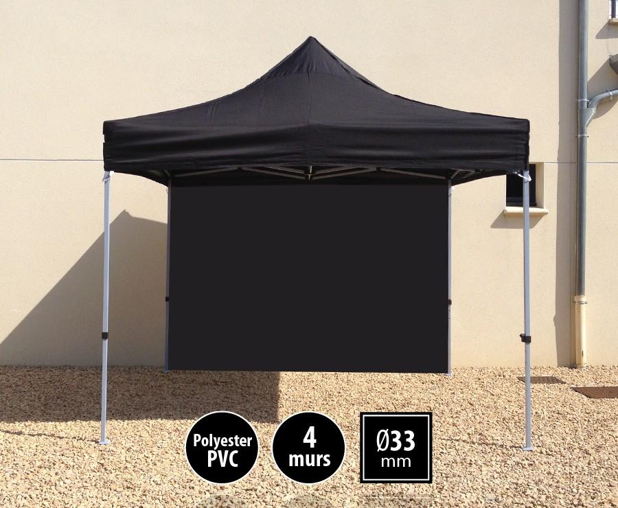 Tente pliante acier SEMI-PRO 3mx3m noire + sac de transport + 4 murs