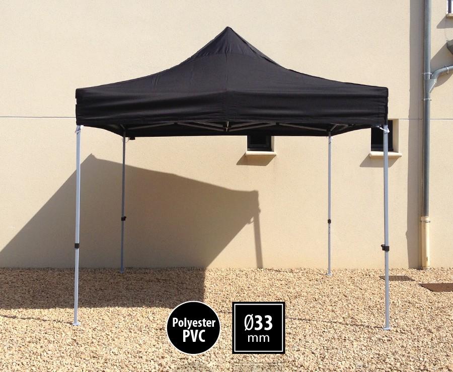 Tente pliante acier 3x3m noir gamme SEMI-PRO, toit polyester pelliculé PVC 300gr/m2