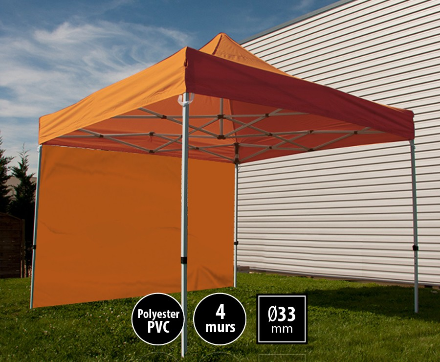 Tente pliante acier SEMI-PRO 3mx3m orange + sac de transport + 4 murs