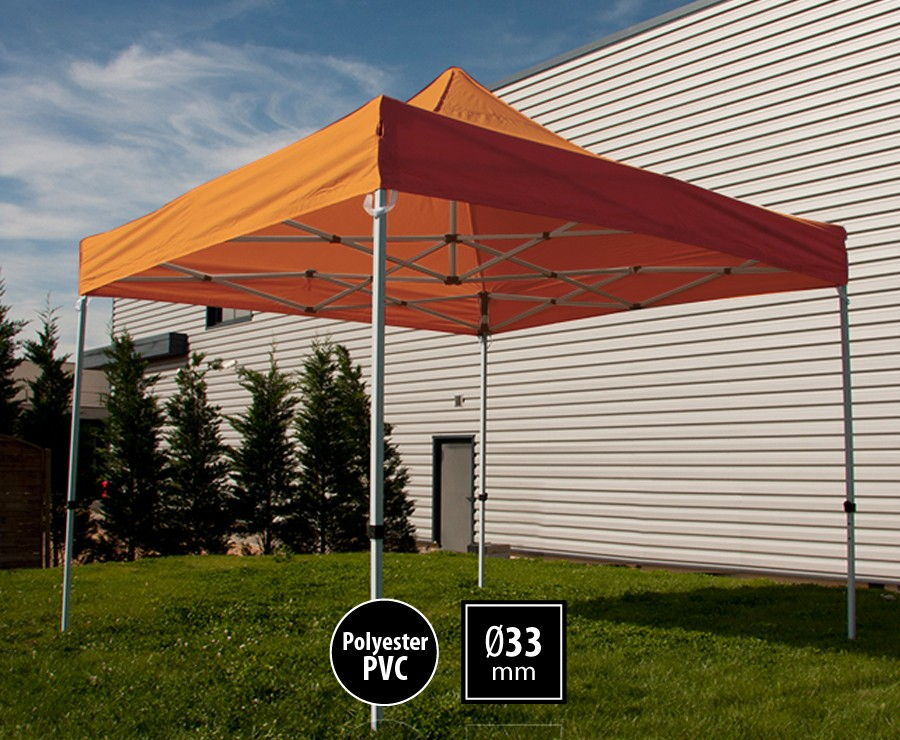 Tente pliante acier 3x3m orange gamme SEMI-PRO, toit polyester pelliculé PVC 300gr/m2