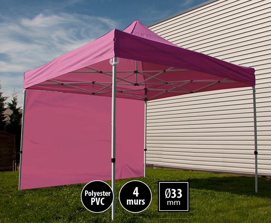 Tente pliante acier SEMI-PRO 3mx3m rose + sac de transport + 4 murs