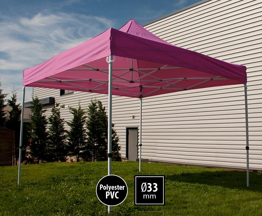Tente pliante acier 3x3m rose gamme SEMI-PRO, toit polyester pelliculé PVC 300gr/m2